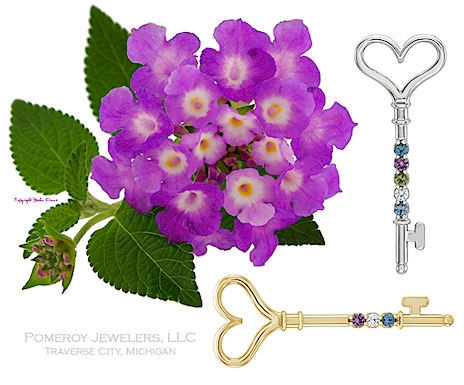 Mothers key birthstone pendant.