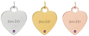 Posh Mommy heart shape engravable pendants.
