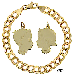Detailed Heads Available In 14k Yellow Gold Only One Size And Thickness Is Offered With Optional Engraving On The Back