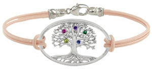 Mom's tree includes a cord bracelet.  Sterling silver bangle is optional.