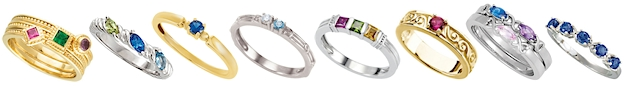 Stacking mothers rings set with birthstones
