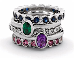 Stackable Eternity Mothers Rings Set With Birthstones