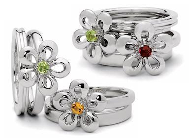 stackable mothers rings floral flower birthstone rings. Black Bedroom Furniture Sets. Home Design Ideas