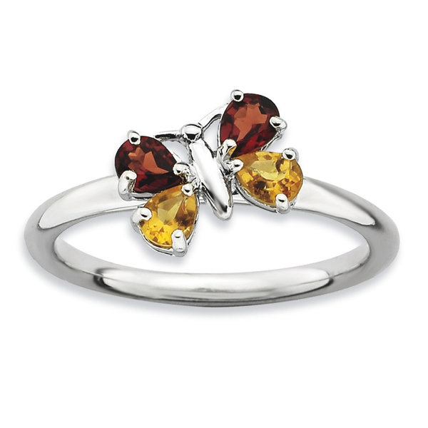 Fine Jewelry Personally Stackable Genuine Gemstone Sterling Silver Butterfly Ring GKtS92